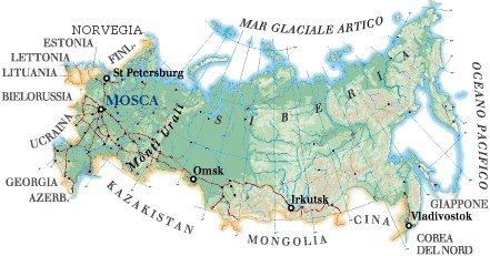 Cartina Fisica E Politica Della Russia.La Russia