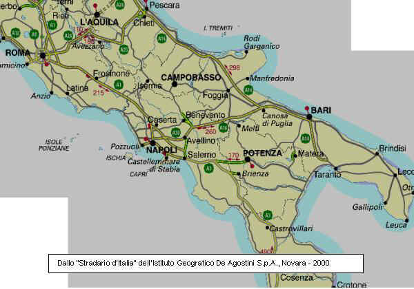 Italia Del Sud Cartina Geografica | Tiesby Nelson