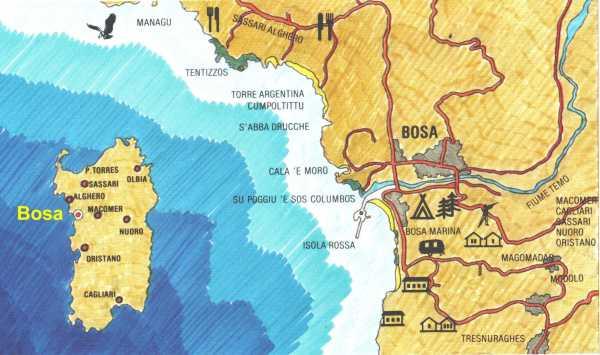 Bosa Cartina Geografica.Posizione Geografica Come Arrivare