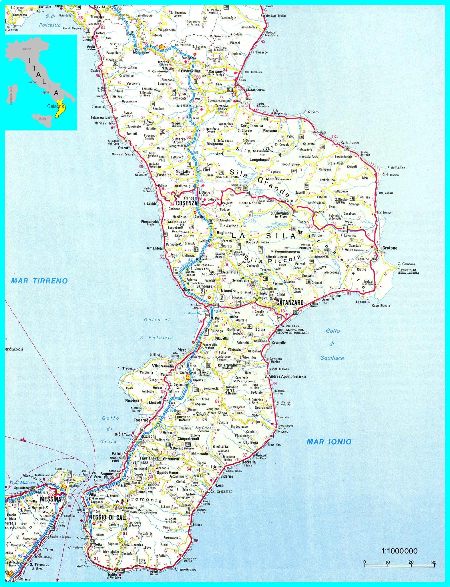 Regione Calabria Cartina Politica.Cartina Calabria