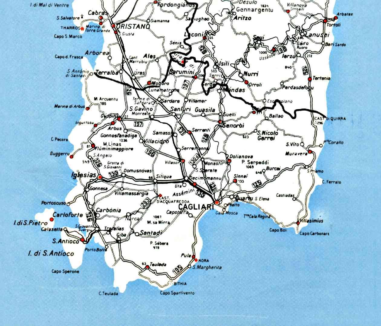 Sardegna Cartina Sud.Cartina Sud