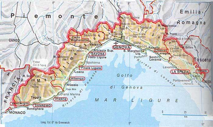 Regione Liguria Cartina Fisica.La Cartina Della Liguria