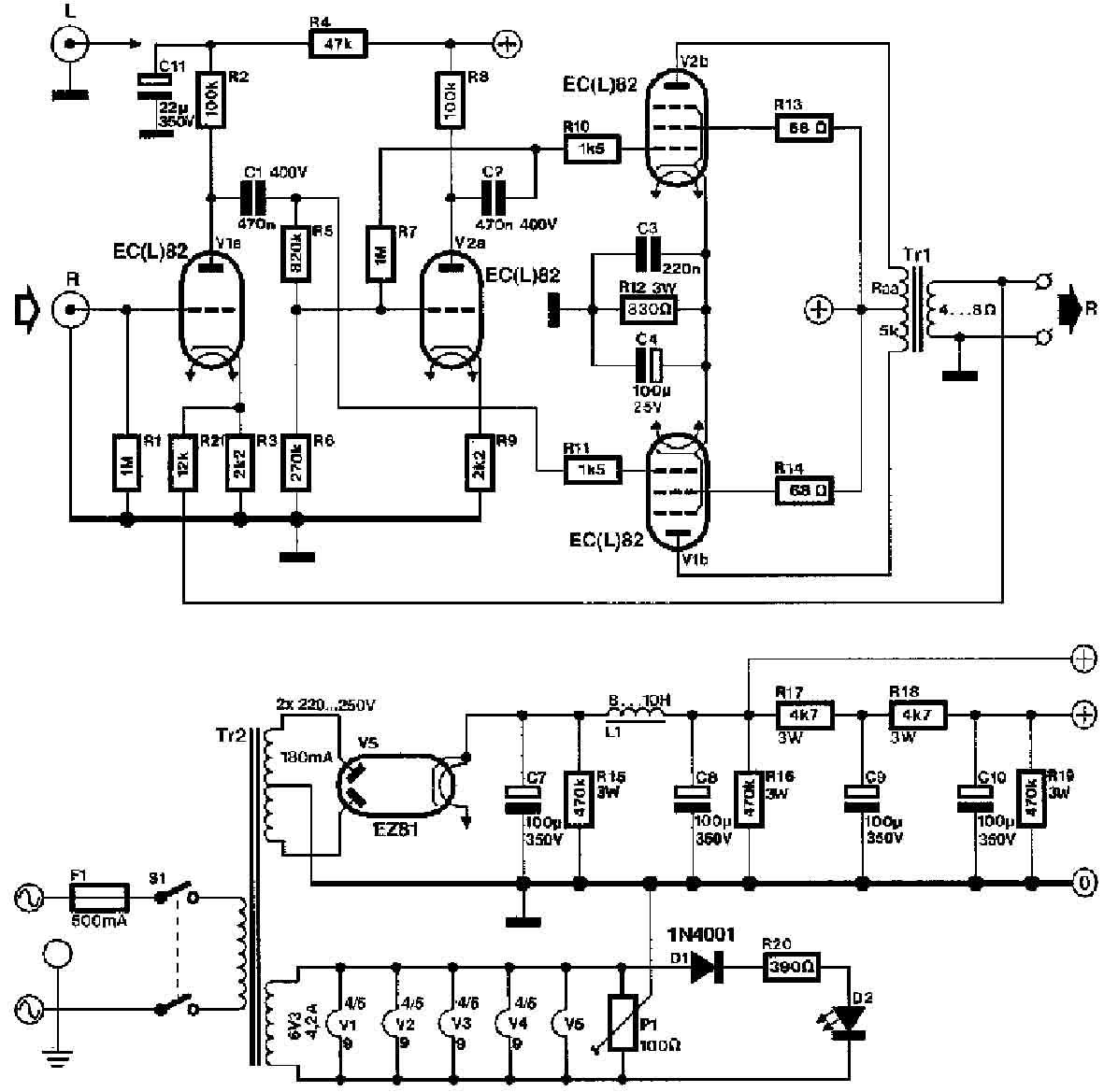 Audiofanaticschemi Pphtml Amplifier With El34 Ecc83 Ecc82 Circuit Schematic Explanation