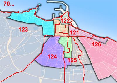 Bari divisa in c a p for Numero abitanti di bari
