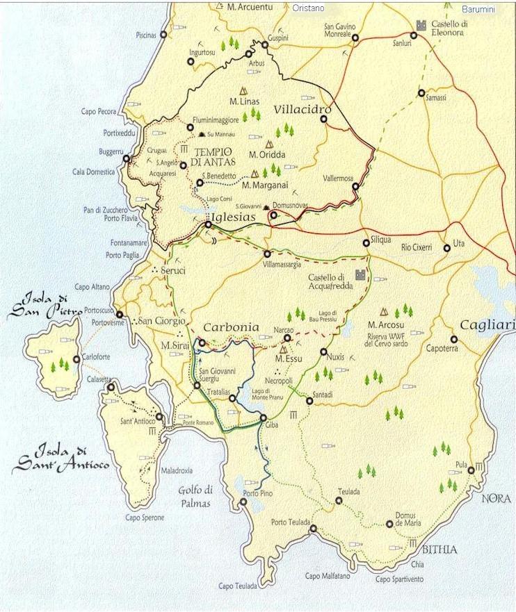 Cartina Sardegna Buggerru.I 10 Itinerari