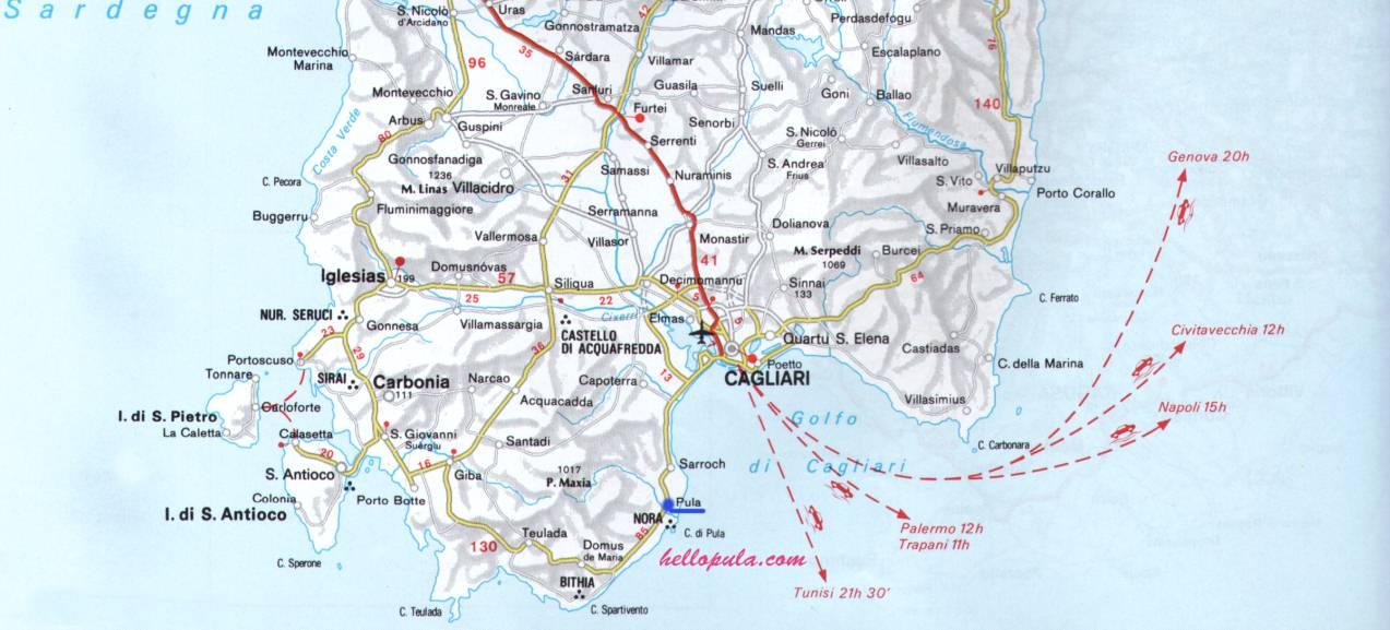 Sardegna Cartina Sud.Maps Hellopula Com