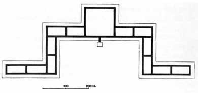 Pianta schematica del falansterio: in nero le rues intérieures