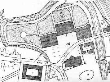 Pianta del complesso di Guisa: 2)familisterio; 3)fabbricato con nuovi alloggi (1886); 5)scuola e teatro; 6)laboratori; 7)lavanderia e bagni