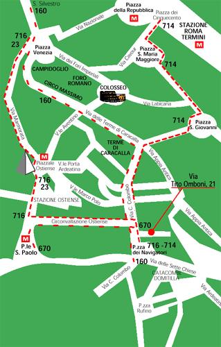 Cartina Roma Turistica.Mappa Di Roma Bed Breakfast In Rome Alle Terme Di Caracalla Turismo Rent B B