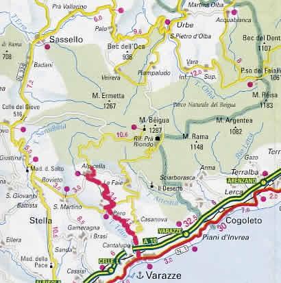 14 Marzo 2004 Liguria : è indicato il percorso fino ad Alpicella sulla via del Beigua.