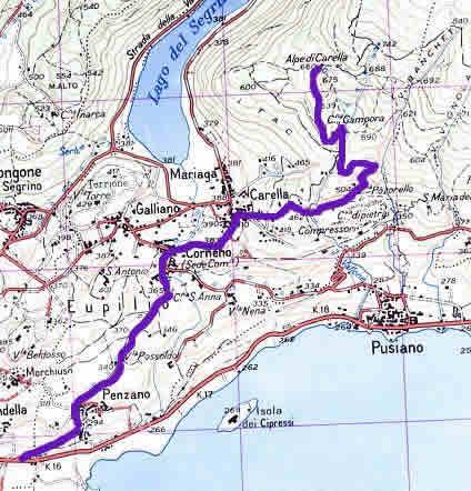 13 Aprile: il percorso che dal lago di Pusiano conduce  all'Alpe Carella (Cornizzolo).