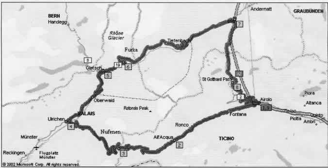 Il percorso che partendo dal Ticino va nel Vallese poi il Canton Uri per rientrare nel Ticino