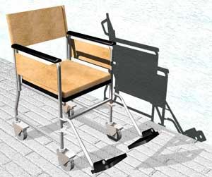 Progetto della sedia a rotelle c4r scafoletti s r l for Sedia a rotelle ruote piccole