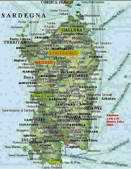 Arbatax Cartina Geografica.Carta Geografica Sardegna Logudoro Mejlogu