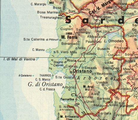 Sardegna Ovest Cartina.Sardegna Natura Cartina Centro Ovest