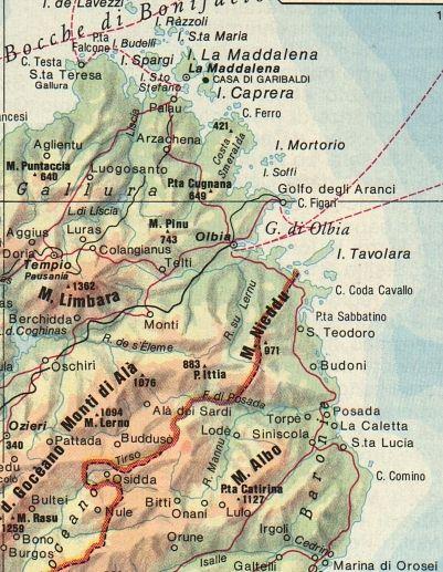 Cartina Nord Sardegna.Cartina Della Sardegna Nord Est