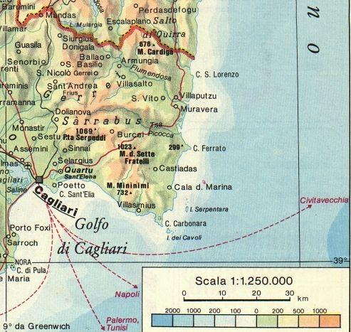Villasimius Cartina Sardegna Sud.Sardegna Natura Cartina Sud Est Cagliari Castiadas Villasimius