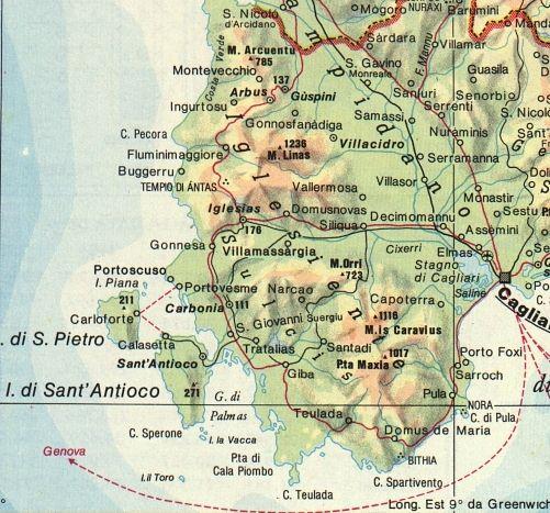 Cartina Sardegna Sud Ovest.Sardegna Natura Cartina Sud Ovest Pula Iglesias Carbonia