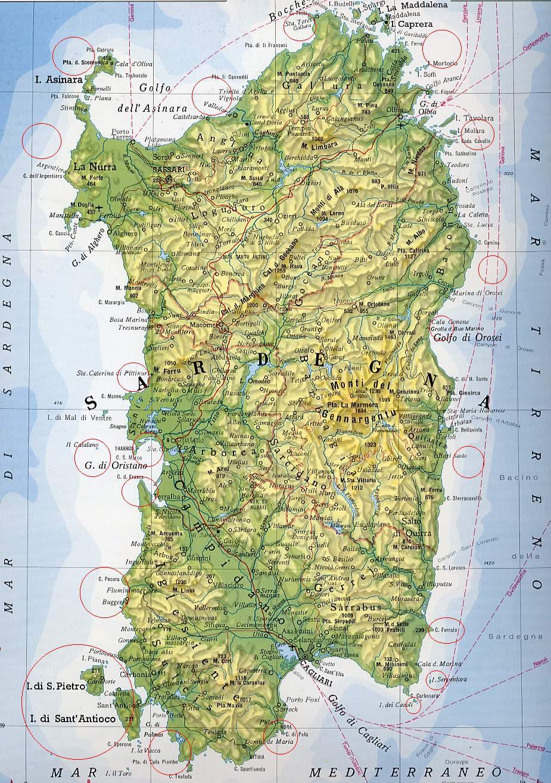 Sardegna Cartina Politica Dettagliata.Cartina Della Sardegna
